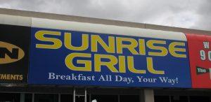 Storefront sign, large sign, restaurant sign, advertising